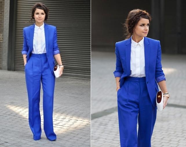 Miroslava Duma Street Style London Fall 2013 Winter 2014 Fashion Week Blue Suit Fashion